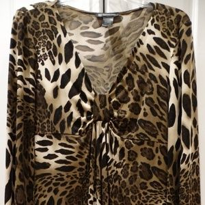 INC Metallic Leopard Print Long Sleeve Top, L